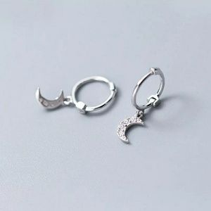 Dainty CZ Moon Huggie Earrings | 925 Silver